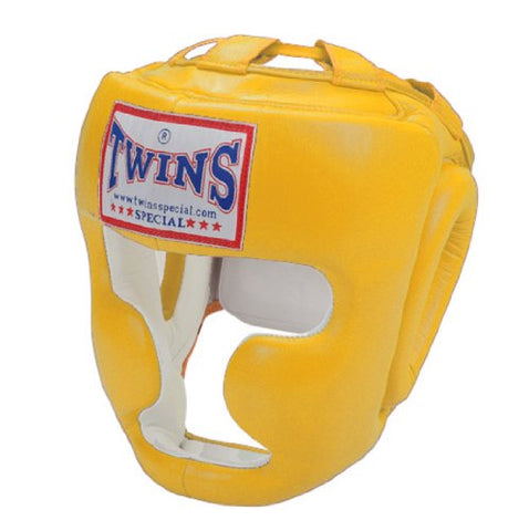 Twins Special Leather Boxing Head Guard - Gold