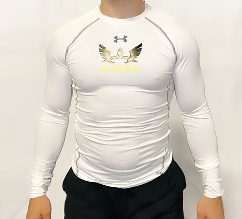 Under Armour Long Sleeve Rashguard w/ Sherbatov Logo - White