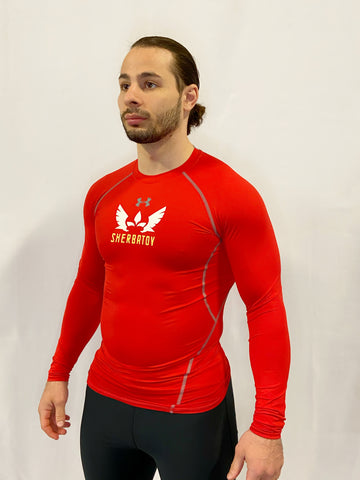 Under Armour Long Sleeve Rashguard w/ Sherbatov Logo - Red
