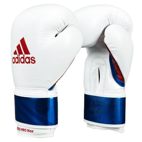 Adidas Pro Leather Bag Gloves - White/Blue - 12 oz