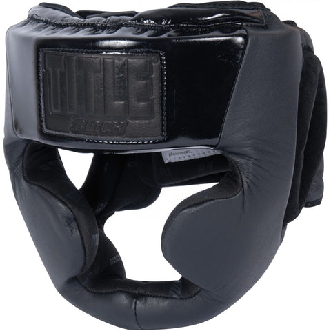TITLE BLACK Leather Training Headgear