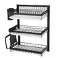 2/3 Layer Kitchen Dish Drain Rack Wall-Mounted Dish Storage Shelves Multifunctional Stainless Steel Paint Punch-Free Dish Chopsticks Holder