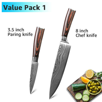 High Carbon Stainless Steel Damascus Drawing Gyuto Cleaver Slicer Santoku Knife Set
