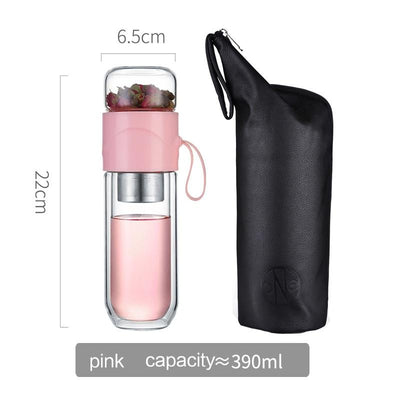 390ml Portable Double Wall Glass Tea Infuser Bottle