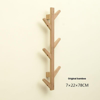 Eco-friendly natural bamboo tree branch wall storage shelf