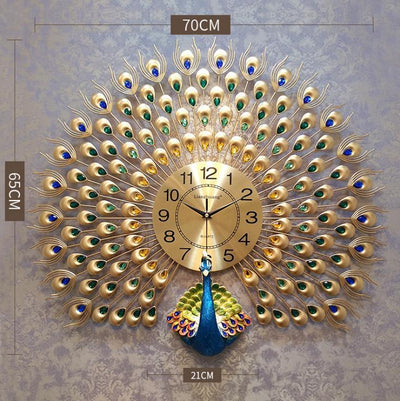 Large Peacock Wall Clock