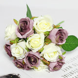 CHENCHENG 12 Pieces / Lot Roses Artificial Flowers Wedding Bouquet Silk Fake Flower Party Home Fall Decor Valentines Day Gift