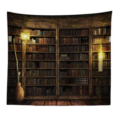 Fireplace and Bookshelf Style Warm Wall Tapestry