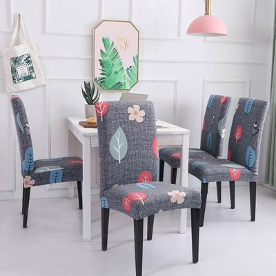 4/5/6 Pieces Grey leaves Stretch Chair Seat Slipcovers