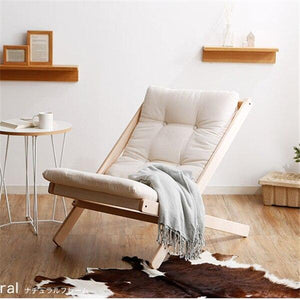 Solid Wood Folding Leisure Chair with Thick Cushion