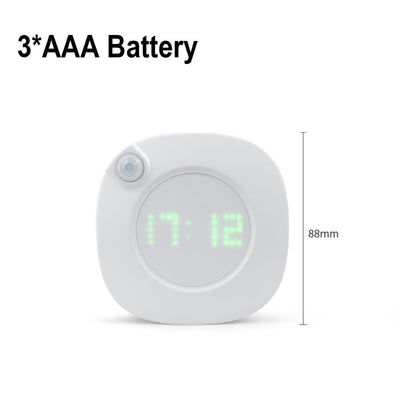 PIR Motion Sensor LED Night light With Digital Time Wall Clock