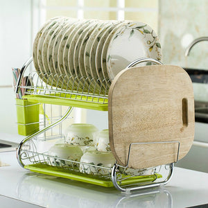 Kitchen shelf DIY dishes cutlery dry drain rack 2 layer