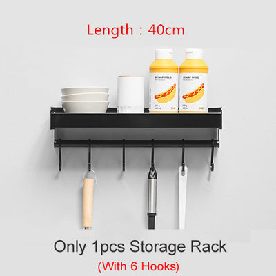 Wall-Mount Spice Racks Aluminum Kitchen Organizer Storage Shelves