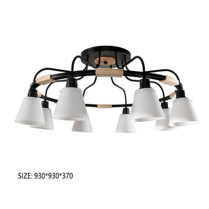 Nordic LED Light Wooden Chandelier Lights E27 With PVC Lampshade