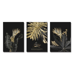 Abstract Golden Leaf Plant Wall Art Canvas Painting