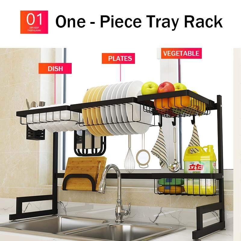 1/2 Layers Multi-use Stainless Steel Dish Shelf Sink Drying Rack Black