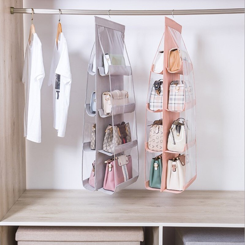 6 Pocket Hanging Handbag Organizer for Wardrobe