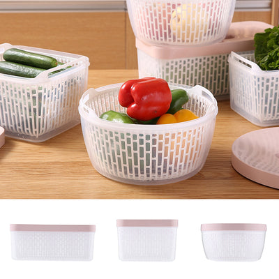 Plastic Refrigerator Food Storage Box with Drainer