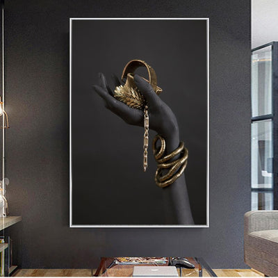 Gold Jewelry Wall Art Canvas Painting
