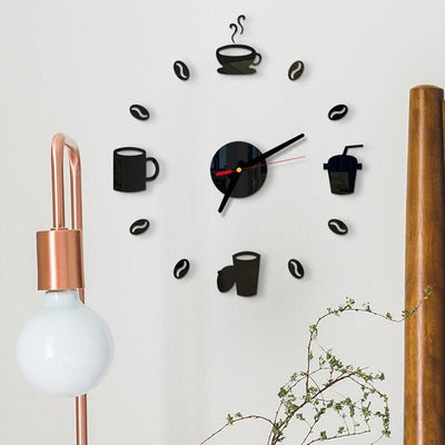Self Adhesive  3D Mirror Wall Clock DIY Coffee Cups Decor
