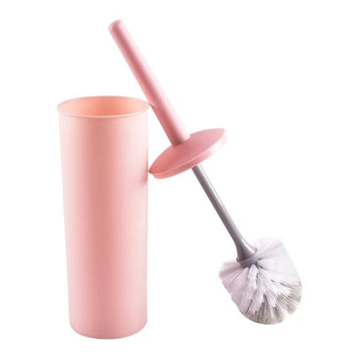 Standing Slim Compact Plastic Toilet Bowl Brush and Holder with Lid Cover for Bathroom Storage