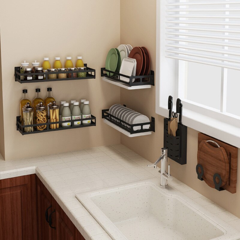 Kitchen Organizer Wall Storage Shelf for Spice Jar Rack