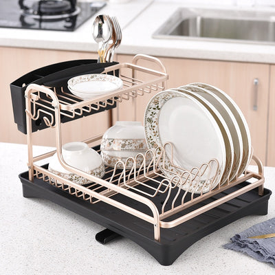 Stainless Aluminium Plate Holder Cutlery Storage Shelf Sink