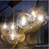 Silver Gold Glass Lights Chandelier