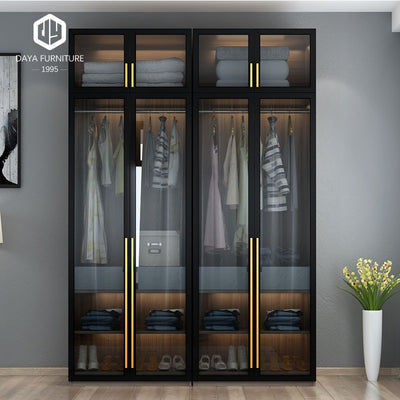 Modern walk in closet aluminum frame glass door wooden wardrobe closet design