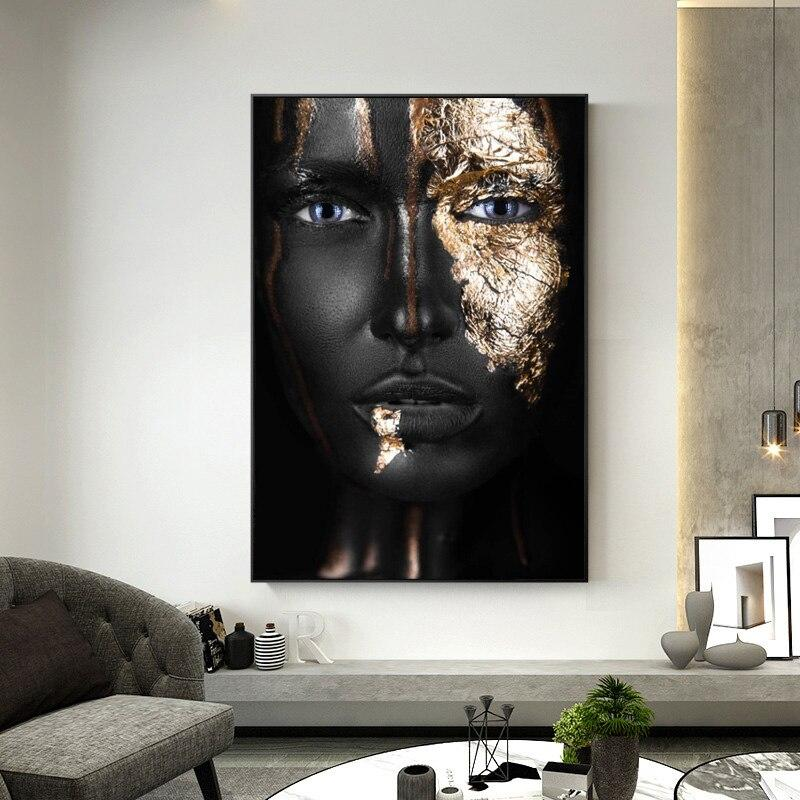 African Black and Gold Woman Canvas Painting