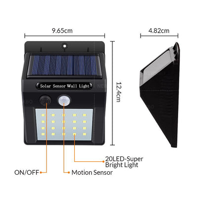 Outdoor sensor wall waterproof solar garden street light LED flashlight