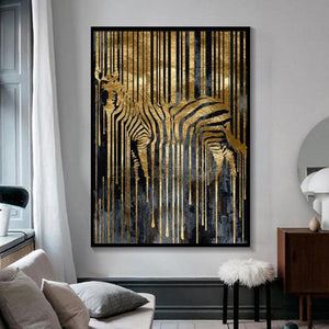 Nordic Abstract Zebra Gold and Black Art Canvas Painting