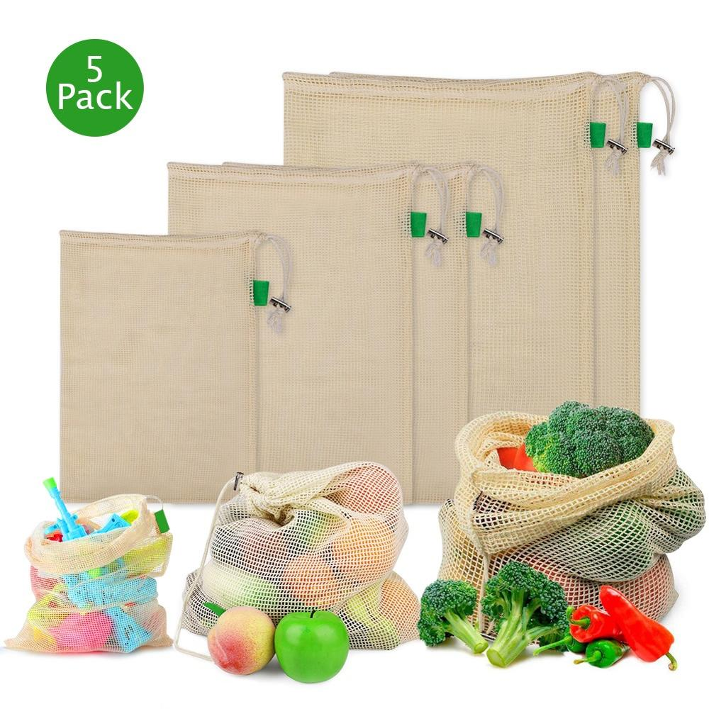 5pcs/set Cotton Mesh  Reusable Washable Drawstring Shopping Bag
