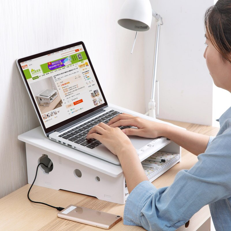 1 Pcs Wood Plastic Computer Rack White Desktop Laptop Shelf