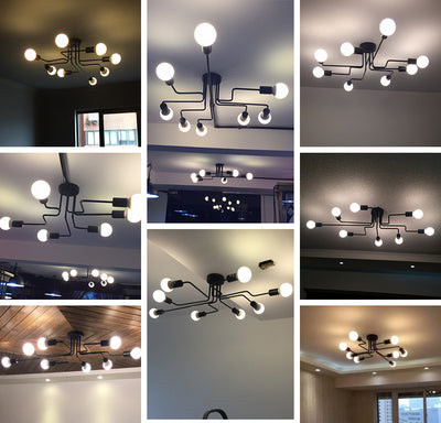 Multiple Rod Wrought Iron Loft E27 Ceiling Chandeliers