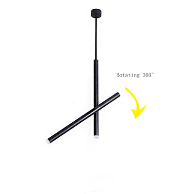 LED Dimmer Modern Long Cylinder Matt Black Pendant lights