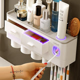 Toothpaste Dispenser With Cup Wall Mount Toiletries Storage Rack