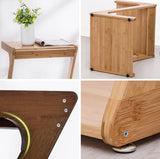 Bamboo removable coffee table with wheels