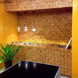 Solid Wood Mosaic Tile TV Background Wall