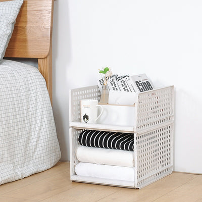 Stackable Clothes Wardrobe Storage Basket Layered Sundrie Storage Racker Multifunctional Plastic Separator Drawer Holders Frame