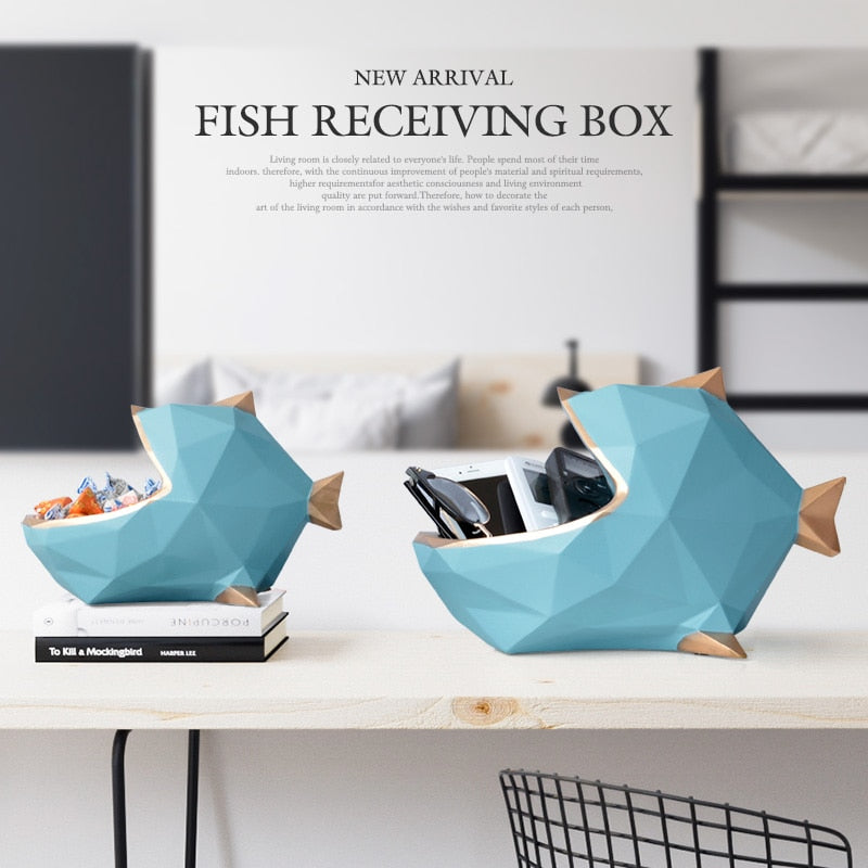 Home office Resin fish statue figurine for tablet