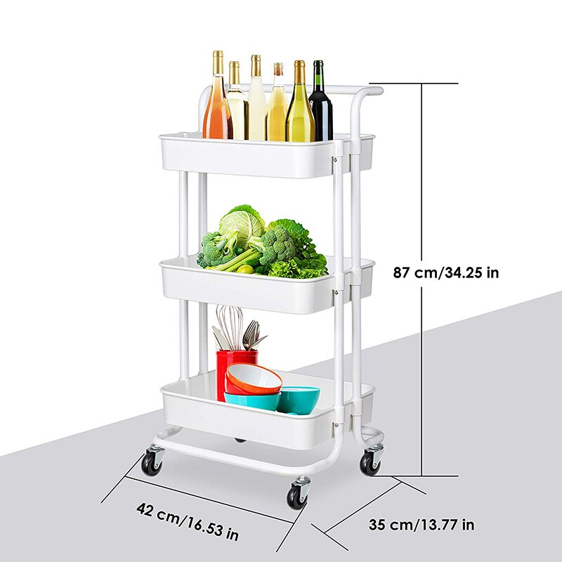 3 Tier Storage Bathroom Movable Rack Wheels