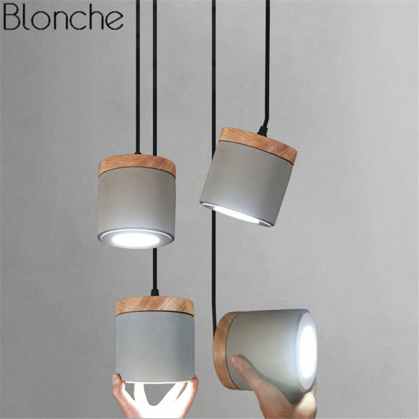 Nordic Cement Wood Pendant Lights