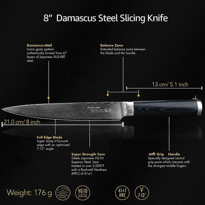 "Japanese Chef Damascus knives 8 ""knife for carving"