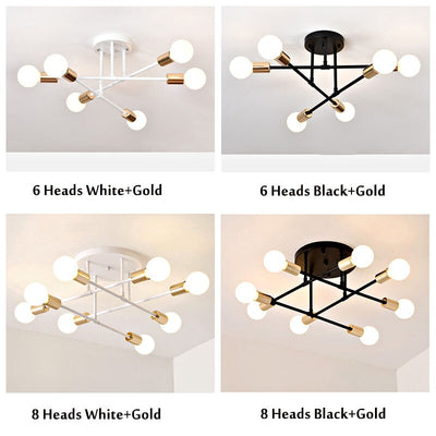 6/8 Head  Nordic LED Industrial Iron Ceiling Light