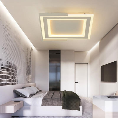 Square Black or White Living Room Minimalism Led Chandelier Fixtures