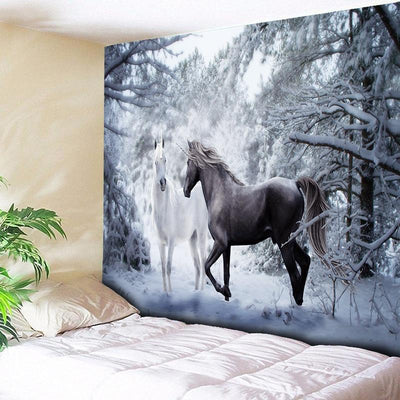 Snow Unicorn Decoration Tapestry Wall Carpet