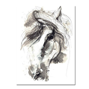 Abstract Horse Canvas Art Print On The Wall