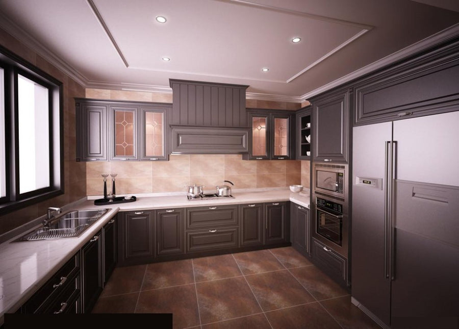 Dark color shaker design kitchen cabinet
