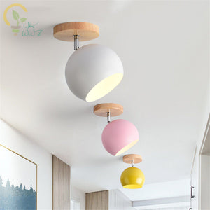 Nordic Wood Modern Colour Led Ceiling Light with Metal Lampshade for Corridor